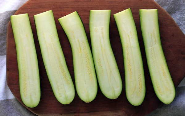 Zuchinni cut in half