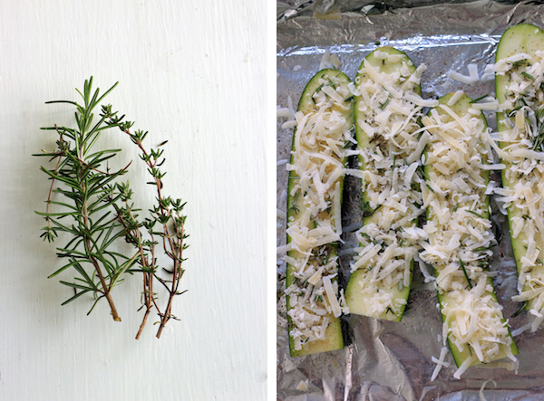 Zucchini sprinkled with shredded parm & herbs