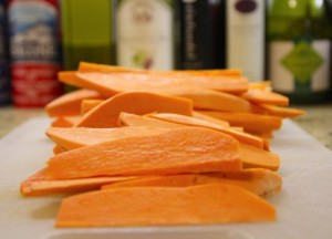 Sweet Potato Wedges with Honey, Thyme, and Goat Cheese