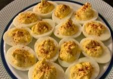 plate of deviled eggs